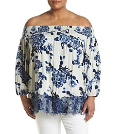 Chelsea & Theodore® Plus Size Floral Off The Shoulder Top