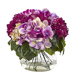 Nearly Natural® Multi-Tone Hydrangea with Vase