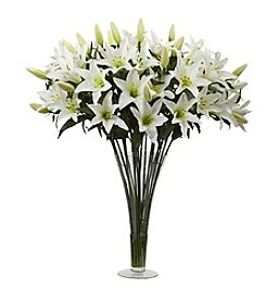 Nearly Natural® Lily Arrangement with Flared Vase