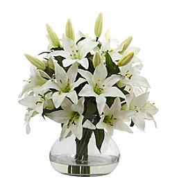 Nearly Natural® Large Lily Arrangement with Vase
