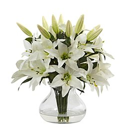 Nearly Natural® Lily Arrangement with Vase