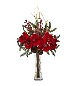 Nearly Natural® Mixed Orchid Holiday Arrangement with Vase