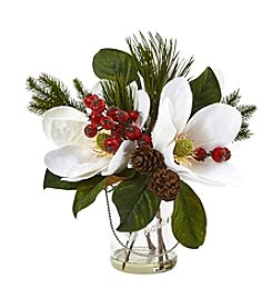 Nearly Natural® Magnolia, Pine, and Berry Arrangement in Glass Vase