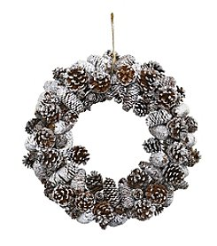 Nearly Natural® Snowy Pine Cone Wreath