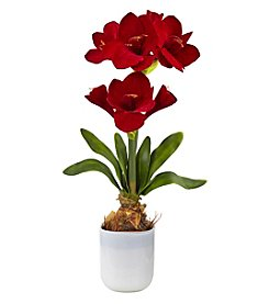 Nearly Natural® Silk Amaryllis Floral Arrangement