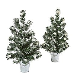 Nearly Natural® Set of 2 Snowy Pine Tree with Tin Planters