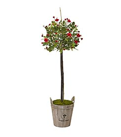 Nearly Natural® 4.5' Rose Topiary with Farmhouse Planter