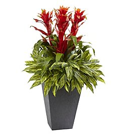 Nearly Natural® Tropical Bromeliad with Slate Planter