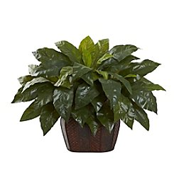 Nearly Natural® Giant Birdsnest Fern with Decorative Planter