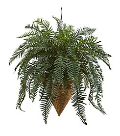 Nearly Natural® Giant River Fern with Cone Hanging Basket