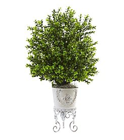 Nearly Natural® Boxwood with Metal Planter