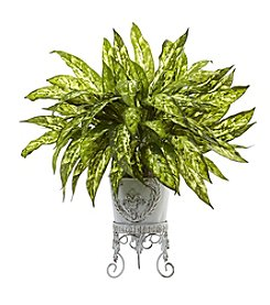 Nearly Natural® Aglaonema with Metal Planter