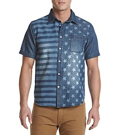 Hollywood the Jean People Men's William Short Sleeve Flag Chambray Shirt