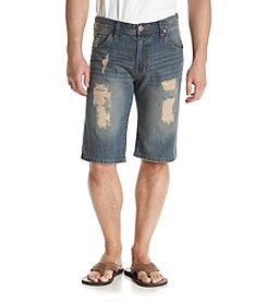 Hollywood the Jean People Men's Caprio Rip Flag Denim Shorts