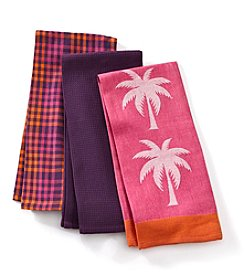 LivingQuarters Palm Trees Set of 3 Kitchen Towels