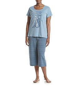 HUE® Plus Size Mermaid Capri Pajama Set