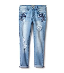 Squeeze® Girls' 7-14 Floral Rip & Repair Roll Cuff Jeans