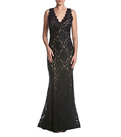 Betsy & Adam® Long Lace Gown