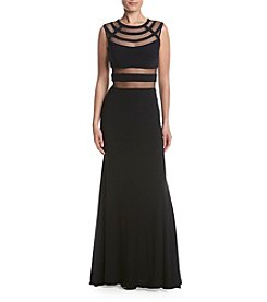 Betsy & Adam® Mesh Insert Long Dress