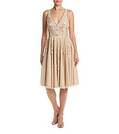 Adrianna Papell® Beaded Floral Tea Length Dress