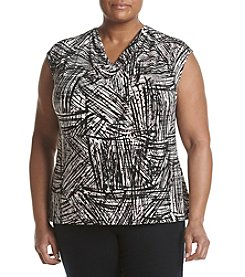 Kasper® Plus Size Cowl Neck Printed Top