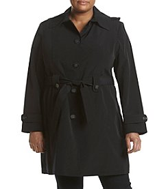 Gallery® Plus Size Hooded Trench With Tie Belt
