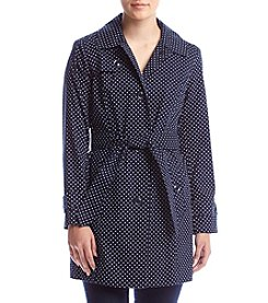 London Fog® Petites' Polka Dot Trench Coat