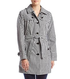 London Fog® Petites' Belted Gingham Trench Coat