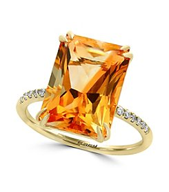 Effy® 14K Yellow Gold Diamond And Citrine Ring