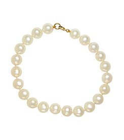 Effy® 14K Yellow Gold And Cultured Freshwater Pearl Tennis Bracelet