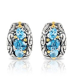 Effy® 925 Sterling Silver And 18K Yellow Gold Blue Topaz Earrings