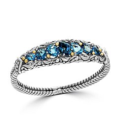 Effy® 925 Sterling Silver And 18K Yellow Gold Blue Topaz Bangle