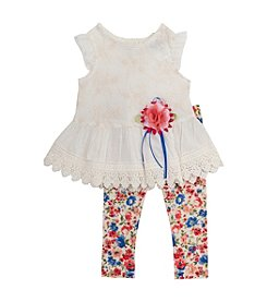 Rare Editions® Baby Girls' Eyelet Top Leggings Set
