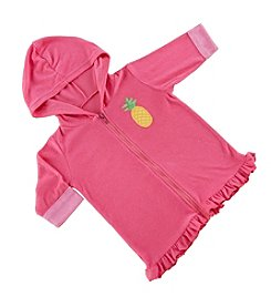Baby Aspen Baby Girls' Tropical Pineapple Hooded Zippered Beach Cover Up