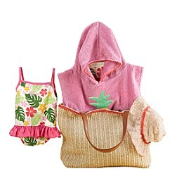 Baby Aspen Baby Girls' Tropical 4 Piece Gift Set With Raffia Tote for Mom