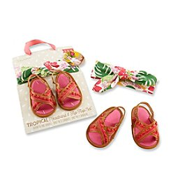 Baby Aspen Baby Girls' Tropical Headband and Flip Flop Gift Set