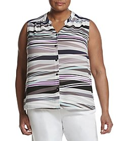 Nine West® Plus Size Striped Button Front Blouse