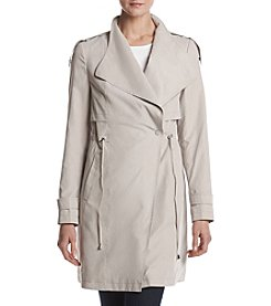 French Connection Draped Asymmetrical Trench Coat