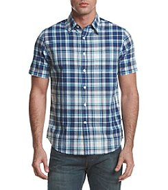 Le Tigre Men's Short Sleeve Plaid Woven Button Down Shirt