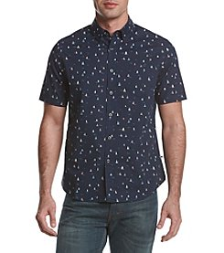 Le Tigre Men's Short Sleeve Printed Woven Button Down Shirt