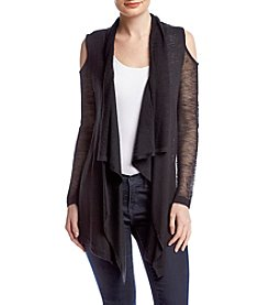 Cupio Cold Shoulder Drape Front Cardigan