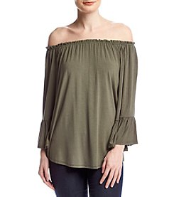 Cupio Ruffle Sleeve Peasant Top