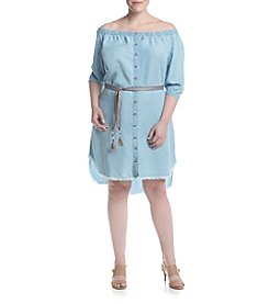 Democracy Plus Size Off Shoulder Chambray Dress