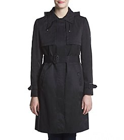 Calvin Klein Belted Hooded Trench Coat