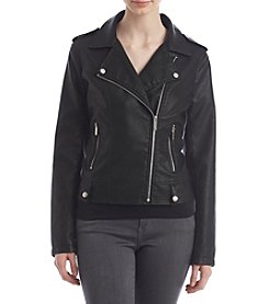 Sequin Hearts Faux Leather Moto Jacket