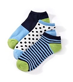 Relativity® 3-Pack Dot Low Cut Socks