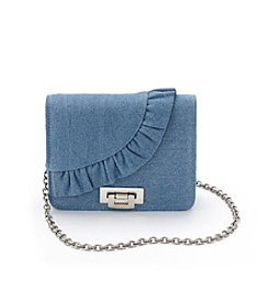 La Regale® Denim Ruffle Crossbody