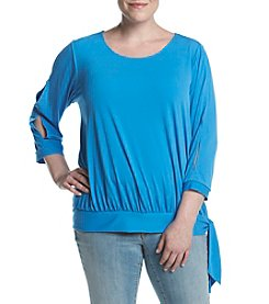 Studio Works® Plus Size Banded Bottom Side Tie Top