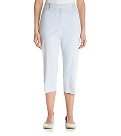 Studio Works® Petites' Stripe No Gap Twill Crop Pants