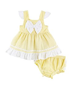 Cuddle Bear® Baby Girls' Seersucker Dress Set